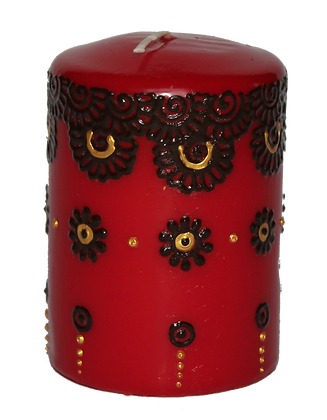 Deep Red Candle With Gold and Black Design