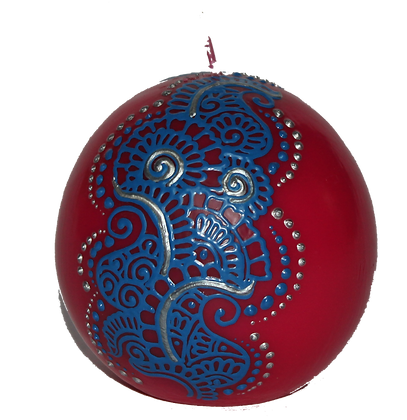 Red Ball Candle with Blue Design