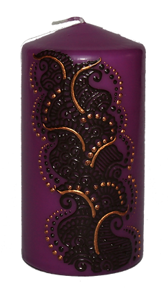 Medium Purple Candle with Black Design