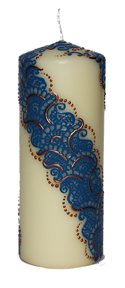 Large Cream Candle with Blue Design