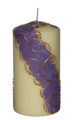 Medium Cream Candle with Light Purple Design