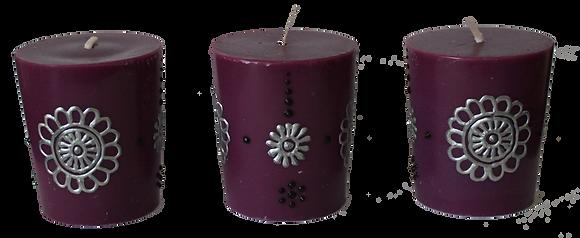 A Set of 3 Purple Votive Candles
