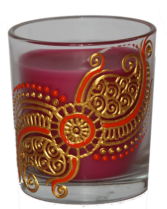 Pink Candle with Gold and Orange Design