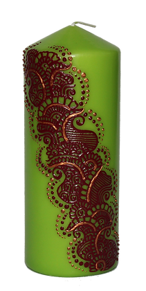 Large Green Candle with Red Design