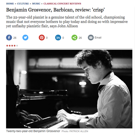 Benjamin's Barbican debut receives 4 stars from The Telegraph and The Guardian