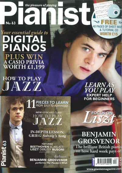 Benjamin makes the front cover of the Pianist Magazine