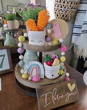 spring decor, pompom garland, signs