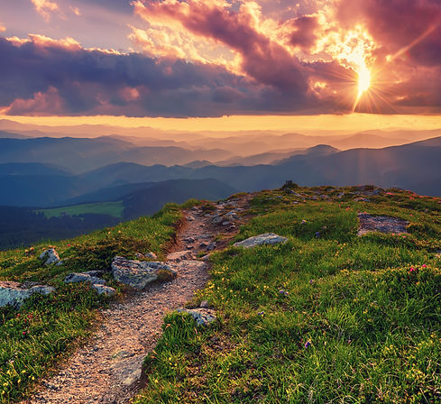 Amazing mountain landscape with colorful
