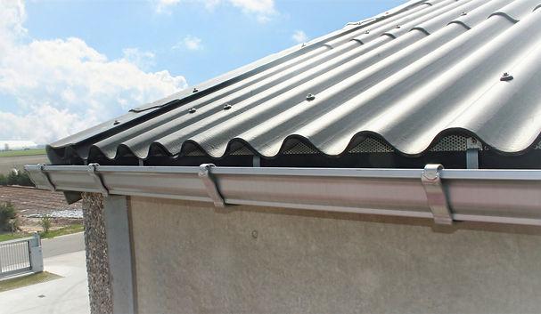 Aluminium naadloze dakgoot met buitenbeugels kleur zilvergrijs RAL9006
