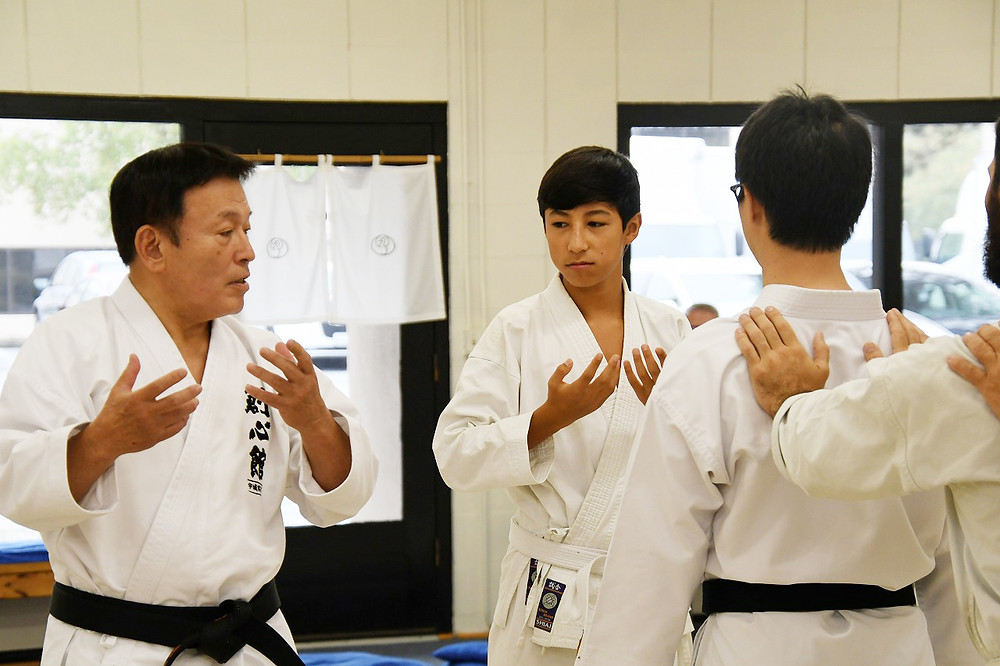 The 15 years old boy pays close attention to Ushiro Sensei's guidance following last year's participation.