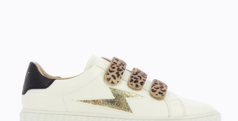 WHITE SNEAKERS WITH LEOPARD VELCRO - Vanessa Wu
