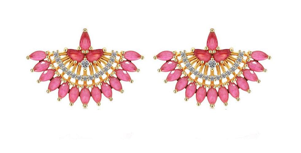 CZ crystal fan stud EA rose pink earrings