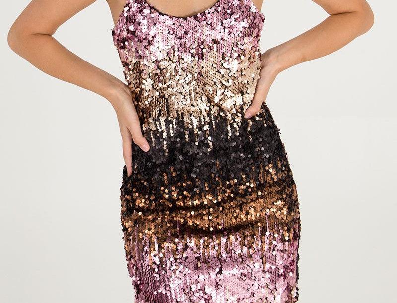Ombre Sequin Midi Dress