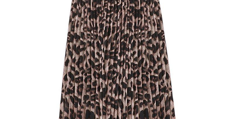Leopard Print Pleat Skirt