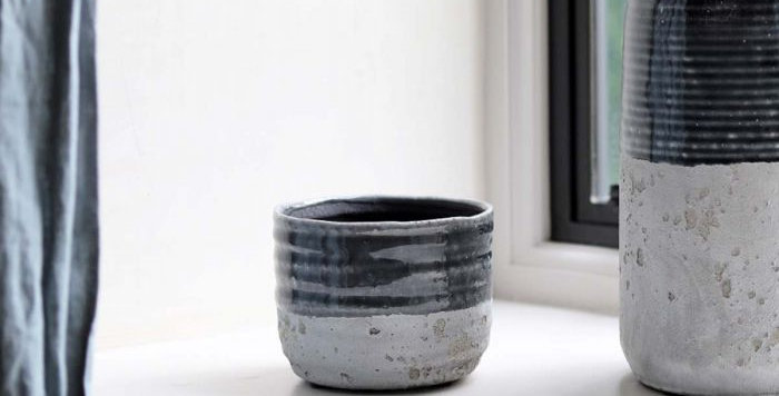 Dark Grey Cement Pot