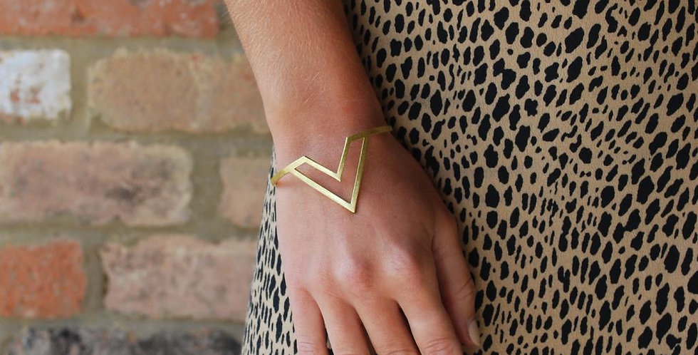 Geometric Bangle - Gold