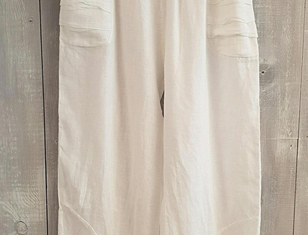 Lightweight Linen Pleated Hem Trouser - White
