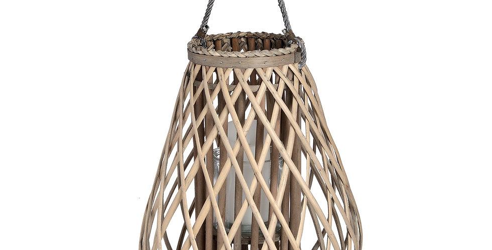Large Bulbous Wicker Basket Lantern