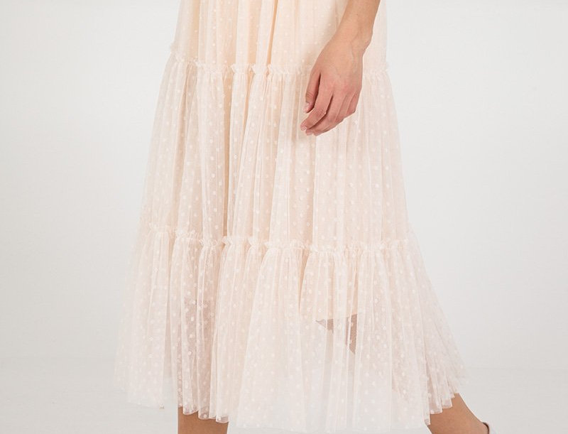 Dotty Tulle Maxi Skirt - Taupe