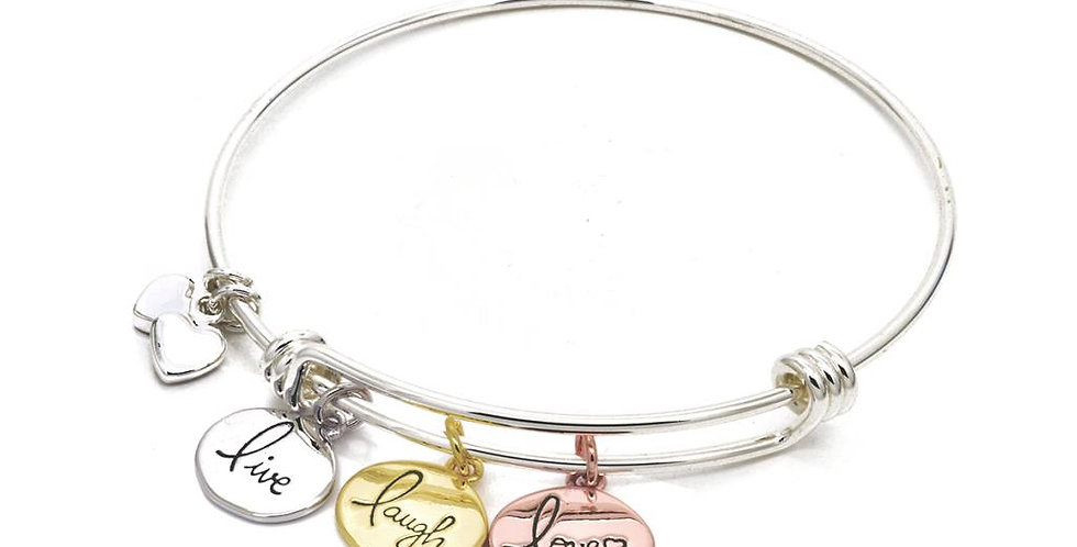 Live, Laugh, Love Silver Plated Bracelet.