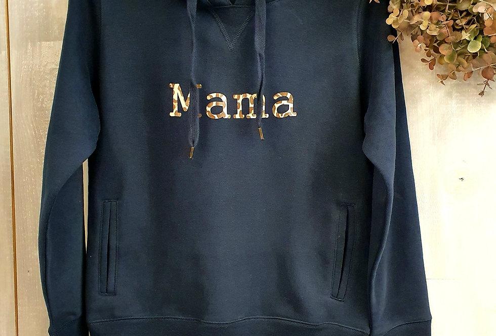 Leopard Print Mama BB Hoodie - Navy