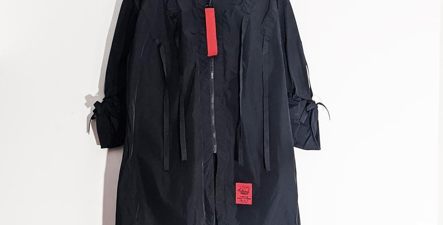 Designer inspired 3/4 hooded parker fabric jacket with tab detail