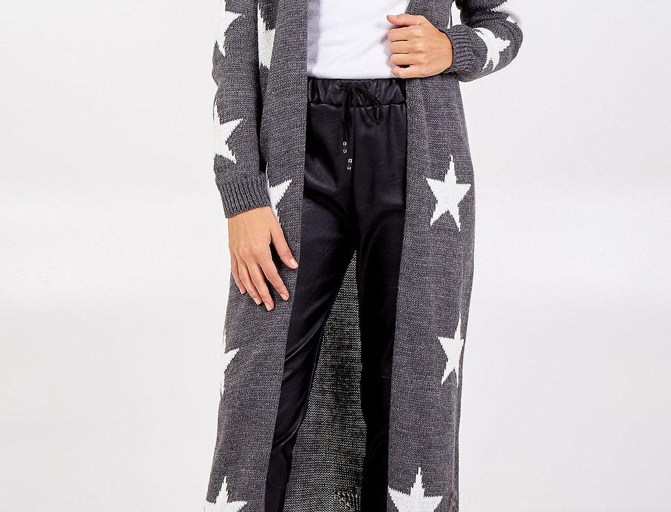 Star Longline Knitted Cardigan - Grey