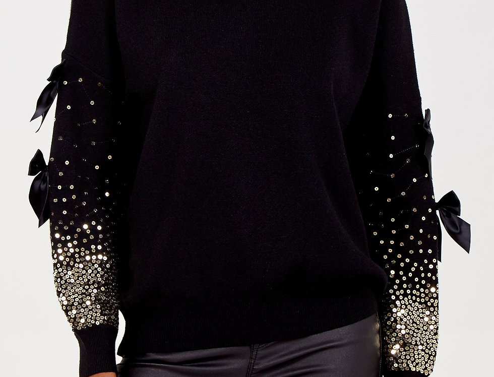 Sequin and Bow Sleeve Jumper