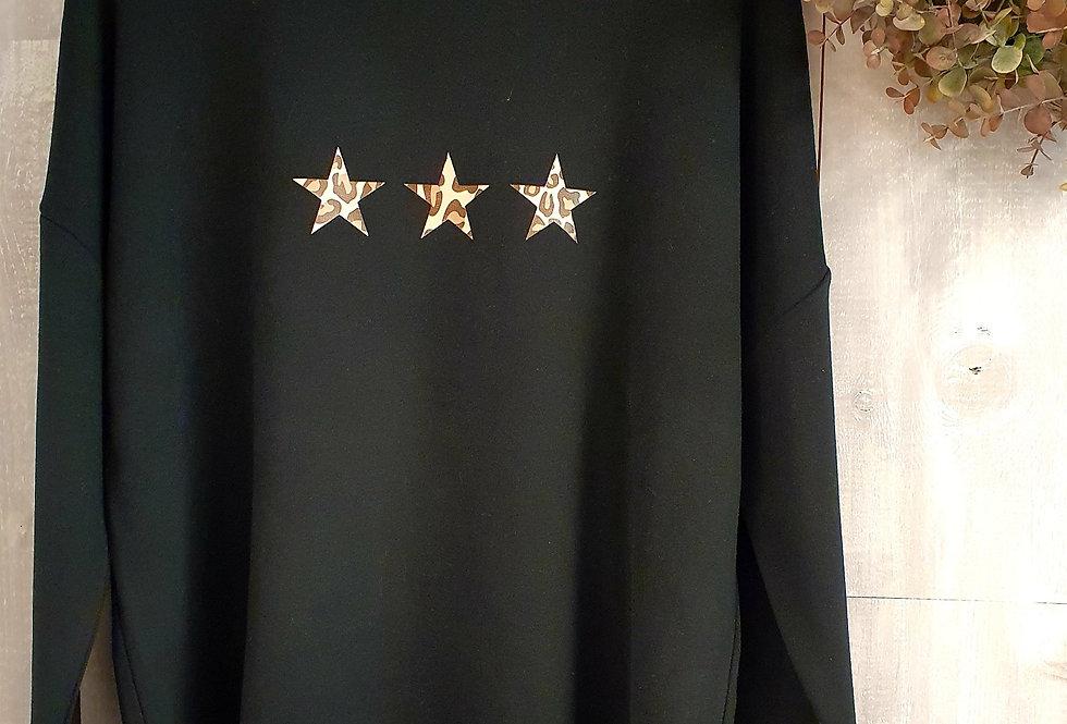 Leopard Print Triple Star BB Sweat - Black