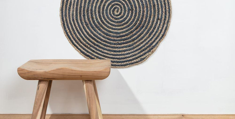 Hand Woven Sand & Blue Braided Jute Round Rug