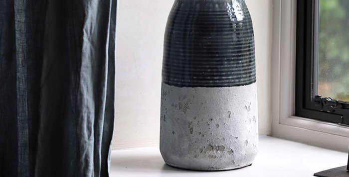 Dark Grey Cement Vase