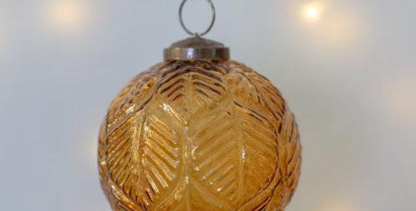 Glass Round Christmas Decoration Leaf Design Vintage Amber