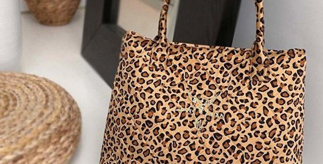 Large Velvet Leopard Shopper