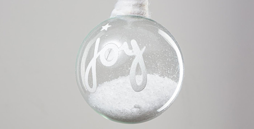 Glass Snow Bauble - Joy