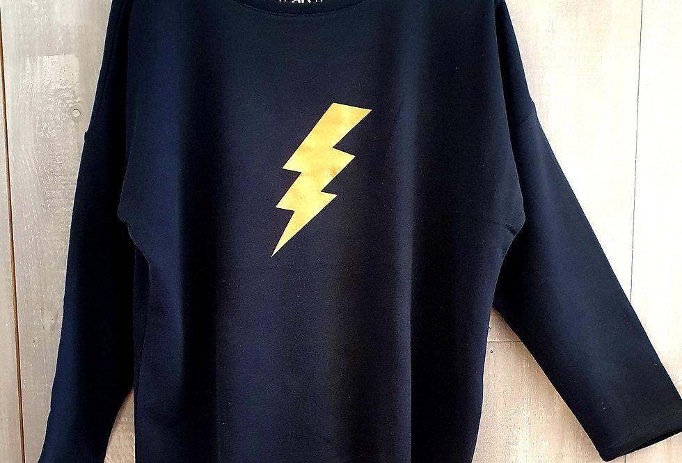 Gold Lightning Bolt - Navy