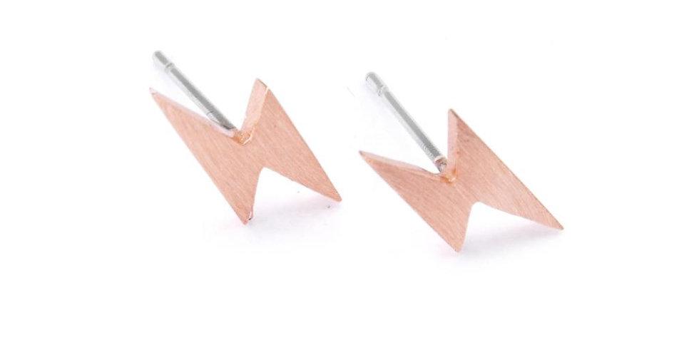 Gold Plated Lightning Bolts Earrings - Rose Gold