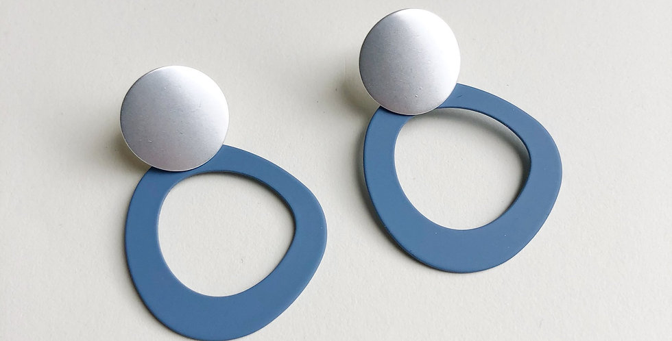 Halo Earrings - Denim/Silver - Jack and Freda