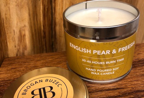 English Pear & Freesia Soy Wax Tin Candle