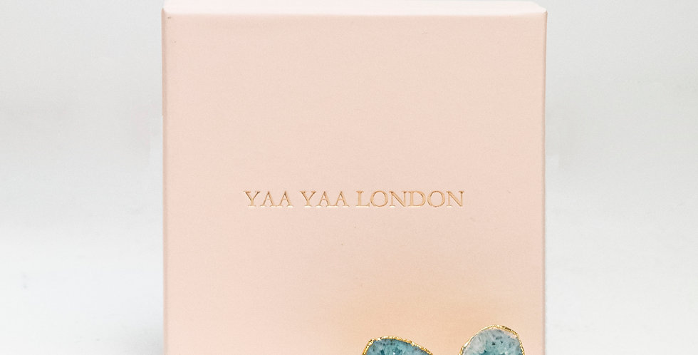 YAA YAA LONDON SIGNATURE SO SOLAR VIOLET TURQUOISE GOLD STATEMENT EARRINGS