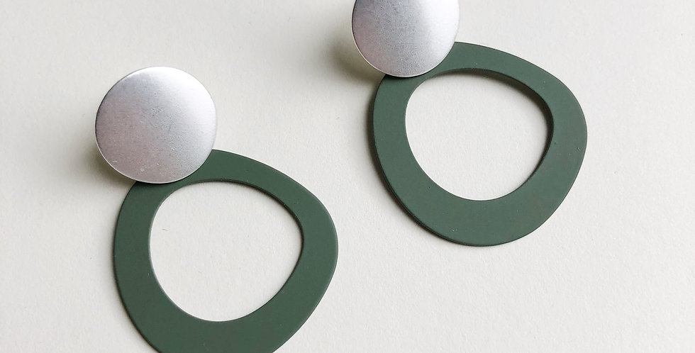 Halo Earrings - Olive/Silver - Jack and Freda