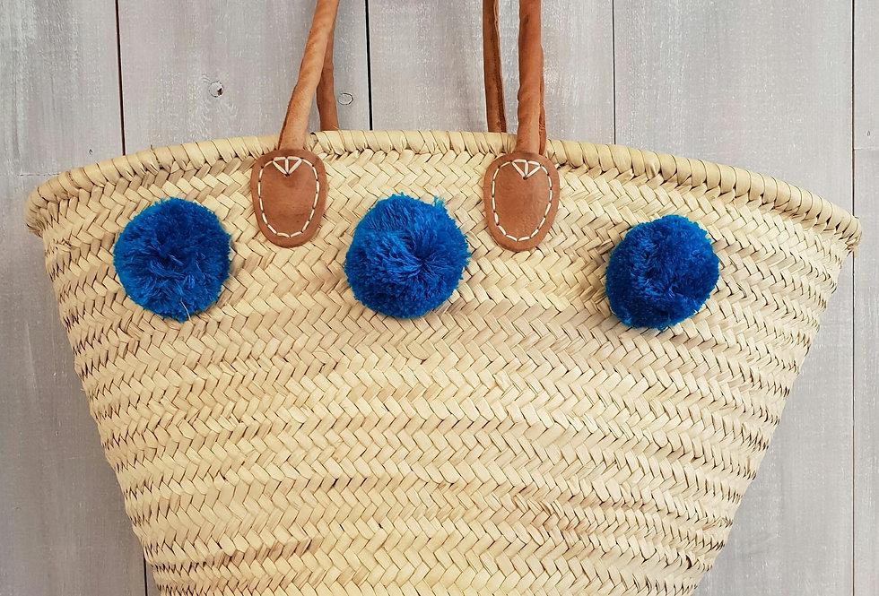 Pom Pom Basket - Turquoise