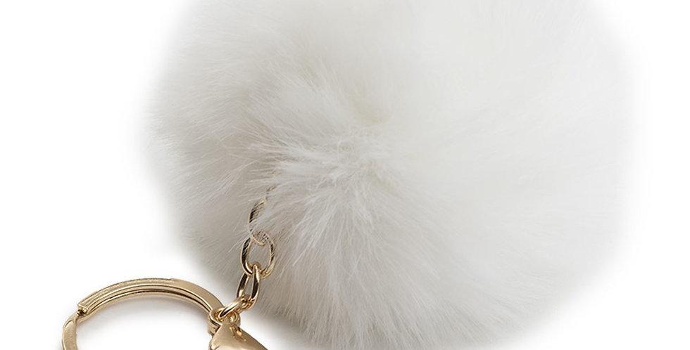 White Pom Pom Key Ring