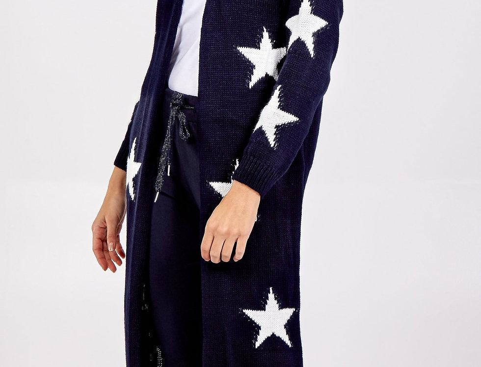 Star Longline Knitted Cardigan - Navy