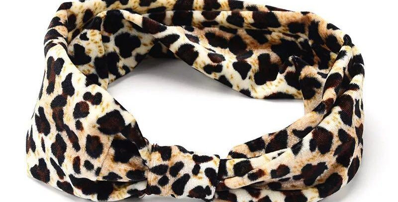 Velour Leopard Print Headband
