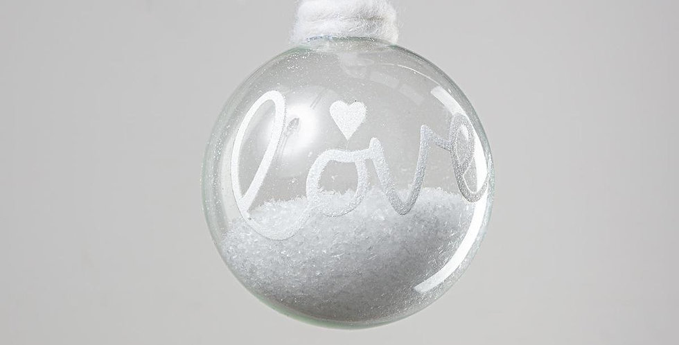 Glass Snow Bauble - Love