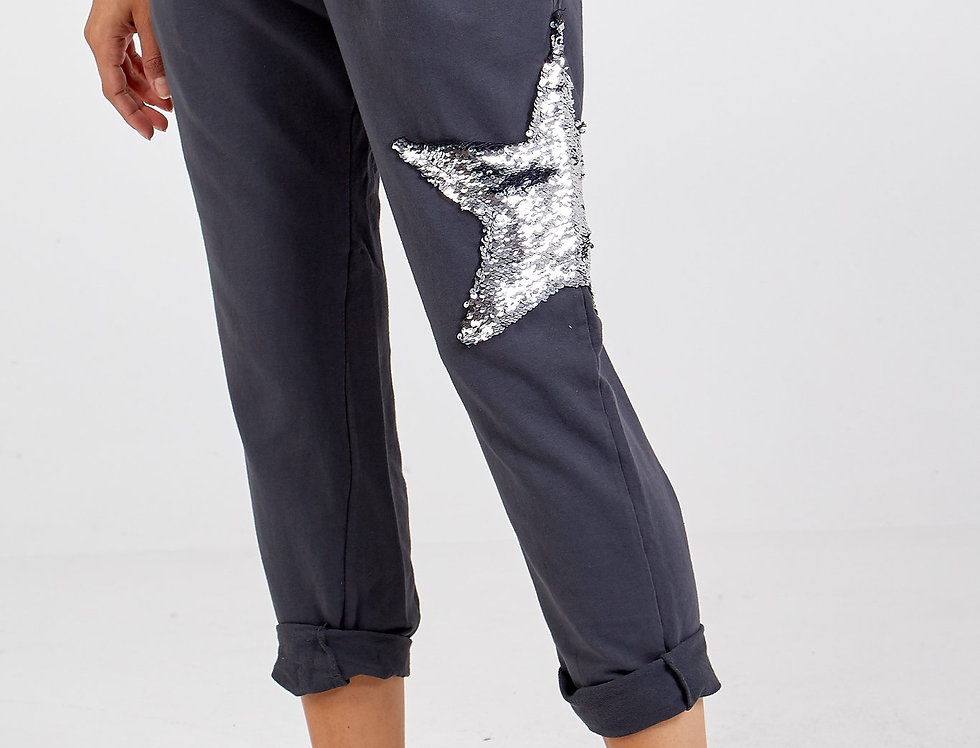 Charcoal Sequin Star Joggers