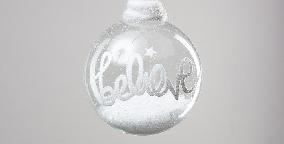 Glass Snow Bauble - Believe