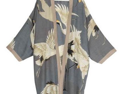 Stork Collar Kimono - Slate Grey - One Hundred Stars