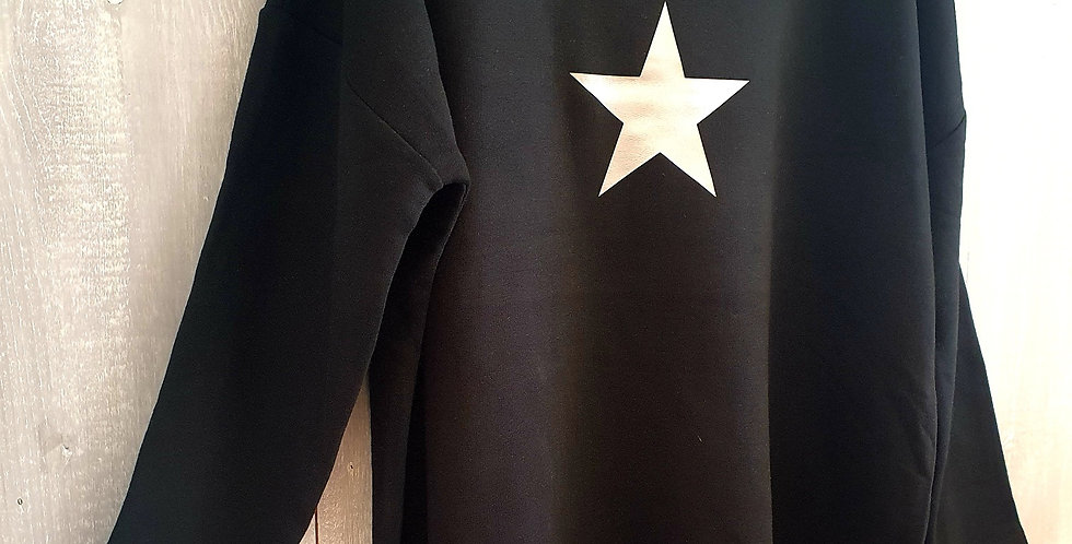 Silver Metallic Star - Black