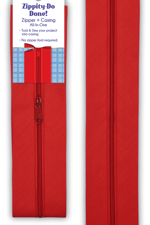 """Zippity Do Done 18"""" Red zipper with pull"""